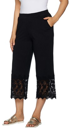 Logo by Lori Goldstein Knit Crop Pants with Crochet Detail