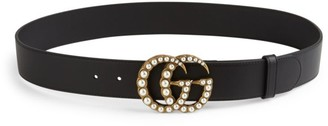 Gucci Pearly GG Buckle Leather Belt
