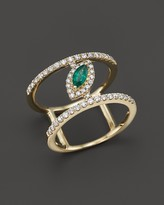 Bloomingdale's Emerald and Diamond Geometric Ring in 14K Yellow Gold - 100% Exclusive