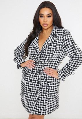 Missguided Plus Size Black Houndstooth Boucle Blazer Dress