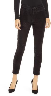 Seven London Metallic Velvet High Waist Ankle Skinny Jeans