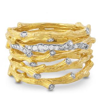 Michael Aram 18k Enchanted Forest Multi-Row Ring w/ Diamonds, Size 7