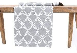 Manor Luxe Piluki Leaf Crewel Embroidered Table Runner