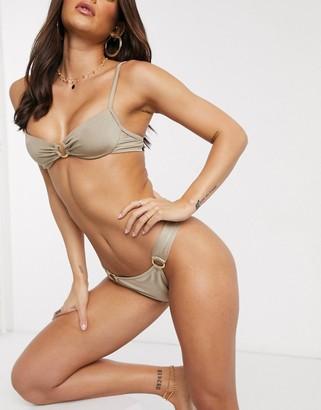 Free Society underwire ring bikini top in high shine toffee
