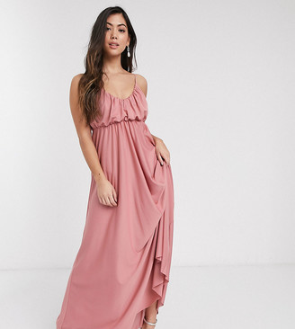 ASOS DESIGN Petite cami plunge maxi dress with blouson top in soft pink