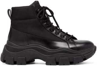 Prada Canvas Panelled Leather Boots - Mens - Black