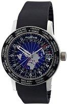Fortis Men's 674.21.11 K B-47 Worldtimer GMT Swiss Automatic Bidirectional Bezel Black Silicone GMT Date Watch
