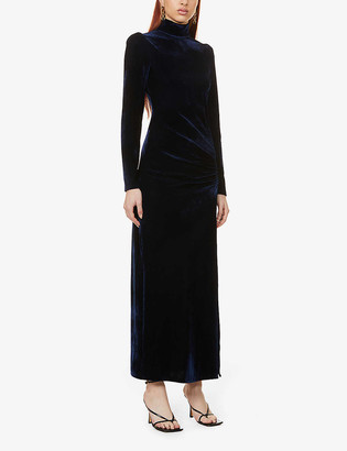 Reformation Moonlight high-neck stretch-velvet midi dress