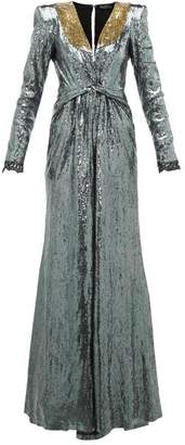 Dundas Long-sleeved Sequinned Gown - Womens - Silver