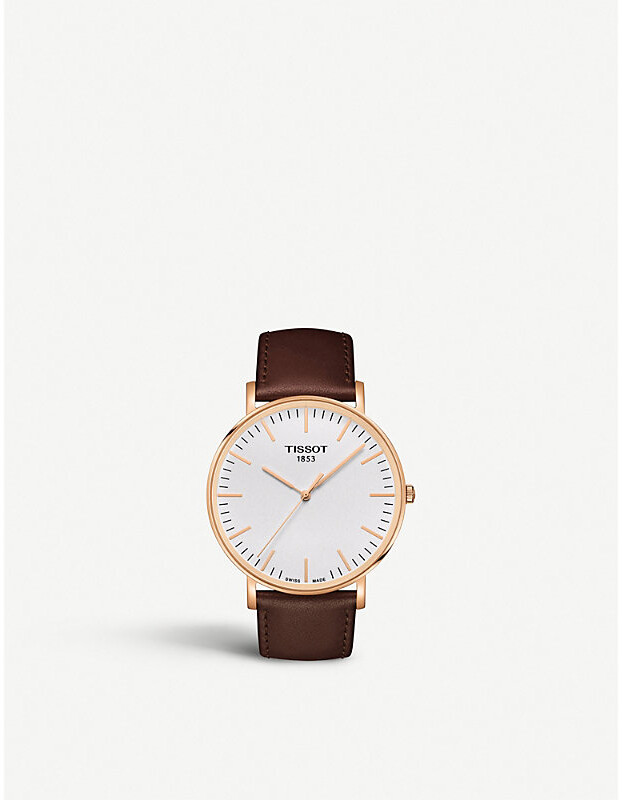 Tissot Women's Gold and Brown T109.610.36.031.00Rose Gold-Plated Stainless Steel And Leather Watch