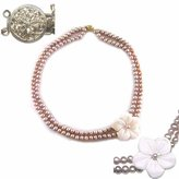 Pink Freshwater Pearl Necklace with Flower