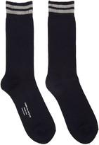 Comme des Garcons Navy Double Stripe Socks