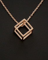 Italian Gold Gold 14K Rose Gold 3D Cube Adjustable Necklace