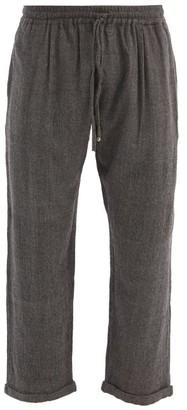 Péro Pero - Drawstring Hand-woven Wool Trousers - Dark Grey