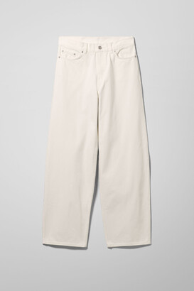 Weekday Rail Mid Loose Straight Jeans - White