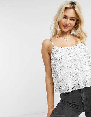 Hollister pleated cami in white ditsy polka dot print