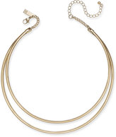 INC International Concepts Gold-Tone Two-Row Metal Collar Necklace, Only at Macy's