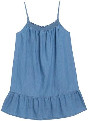 Joie Kunala Chambray Smocked Ruffle Hem Dress
