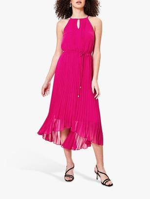 Oasis Pleated Keyhole Midi Dress, Hot Pink