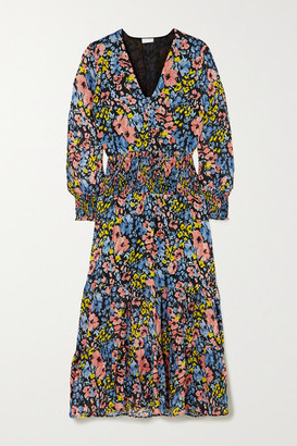Rixo Maya Shirred Floral-print Cotton Maxi Dress - Black