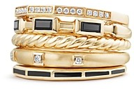 David Yurman Stax Color Ring with Black Spinel, Black Enamel & Diamonds in 18K Gold
