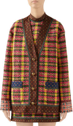 Gucci Check Tweed Jacket with Silk Trim