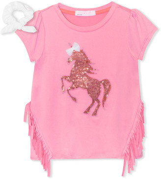 Young Hearts Girls' Tee Shirts PINK - Pink Unicorn Sequin Side-Fringe Tee & White Bow Scrunchie - Toddler & Girls