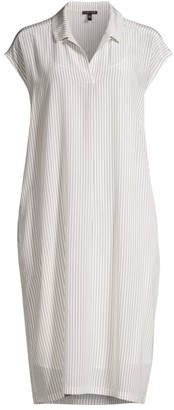 Eileen Fisher Striped Collared Silk Dress