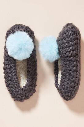 Lemon Pom Knit Slippers By in Grey