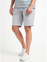 John Lewis Cotton Linen Stripe Smarter Chino Shorts, Grey/navy Stripe
