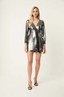 French Connenction Metallic Drape Wrap Dress