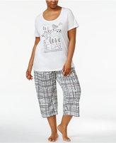 Hue Plus Size Wake Up Top and Plaid Capri Pants Pajama Set