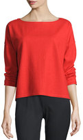 Eileen Fisher Fisher Project Long-Sleeve Wool Boxy Top, Poppy