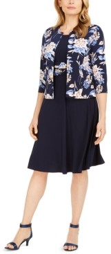 Jessica Howard Petite Floral-Print Jacket & Ruched-Waist Dress