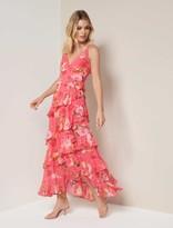 Forever New Delilah Ruffle Midi Dress - Coral Garden - 10