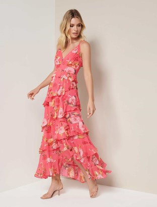 Forever New Delilah Ruffle Midi Dress - Coral Garden - 12
