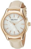 Nautica Women's NAD12000M NCT 18 MID Analog Display Quartz Beige Watch