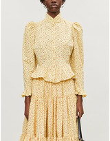 Batsheva Grace floral-print high-neck cotton-poplin blouse