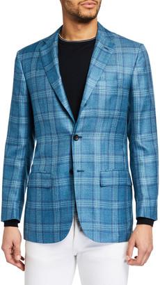 Kiton Men's Plaid Cashmere-Blend Sport Jacket
