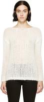 Saint Laurent Ivory Open-knit Sweater