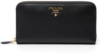 Prada Logo Plaque Zip Around Wallet