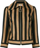 Nina Ricci striped zipped jacket - women - Silk/Cotton - 36