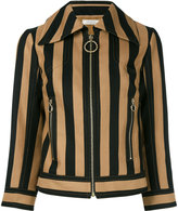 Nina Ricci striped zipped jacket - women - Silk/Cotton - 38
