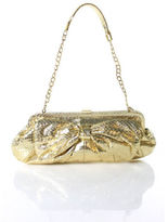 Rafe Gold Metallic Snakeskin Bow Gold Tone Chain Strap Clutch Handbag RHB35