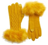 Women's Cc Faux Fur Trim Knit Tech Gloves