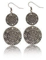 Idealway Retro Mountain Tribe Double Disk Hook Long Earring Exotic Bohemian Jewelry