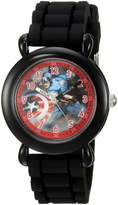Marvel Boy's 'Captain America' Quartz Plastic and Silicone Casual Watch, Color: (Model: WMA000027)