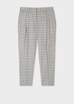 Women's Tailored-Fit Multi-Colour Gingham Check Wool Trousers