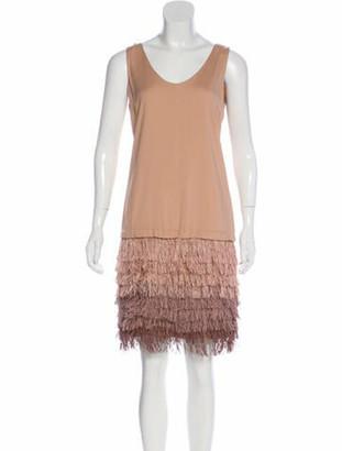 Brunello Cucinelli Silk Fringed Dress Mauve