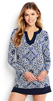 Lands' End Women's Petite Size Sleeve Swim Tunic Rash Guard-Deep Sea Floral Medallion